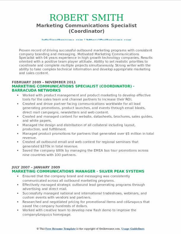 Marketing Communications Specialist (Coordinator) Resume Format