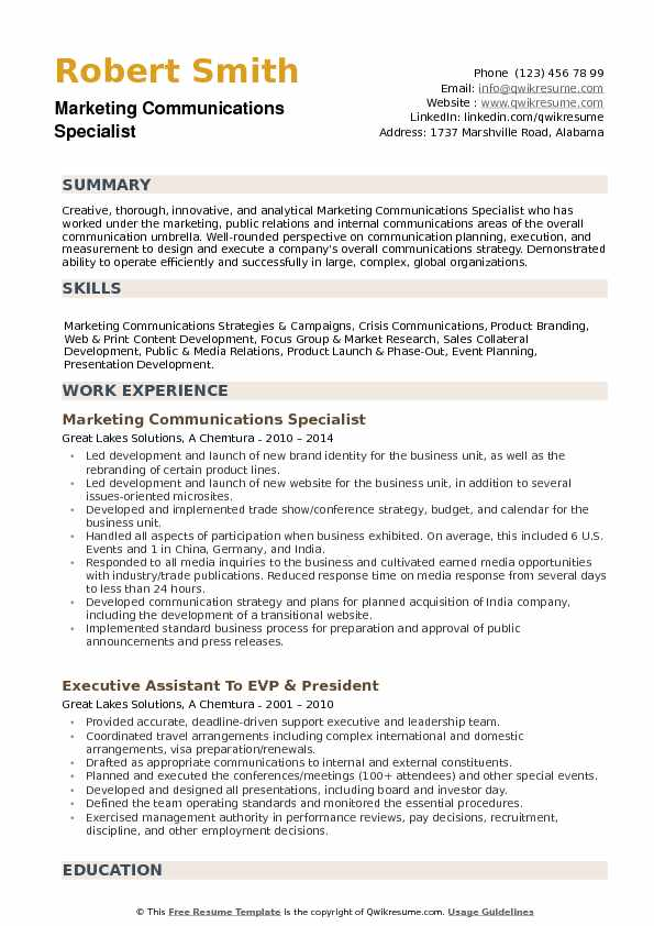 Marketing Communications Specialist Resume example