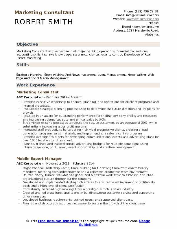 Marketing Consultant Resume Sample
