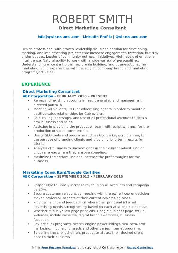 Direct Marketing Consultant Resume Example