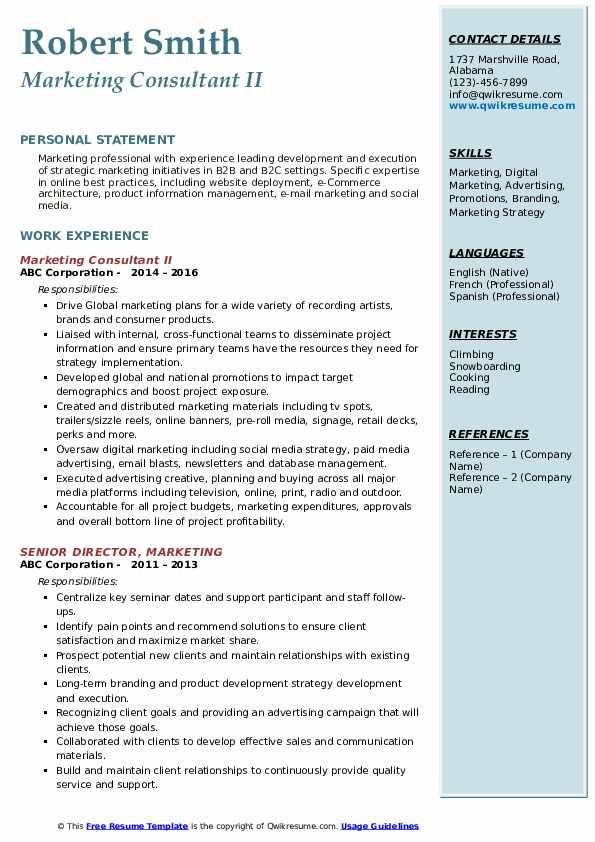 marketing consultant resume samples