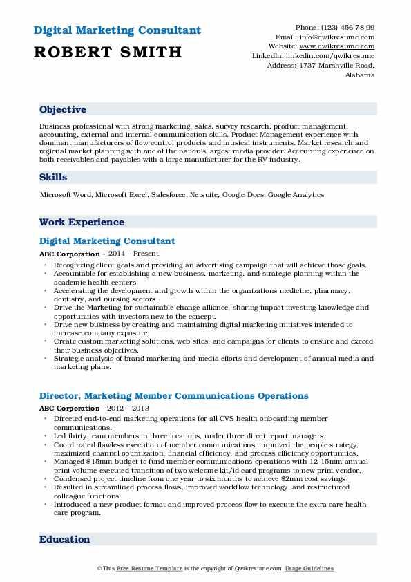 Digital Marketing Consultant Resume Template