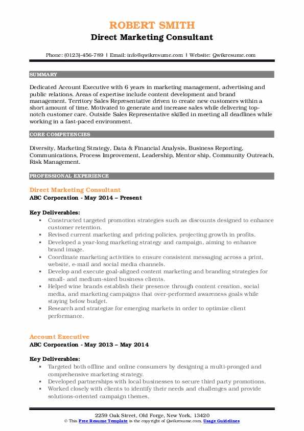 Direct Marketing Consultant Resume Model