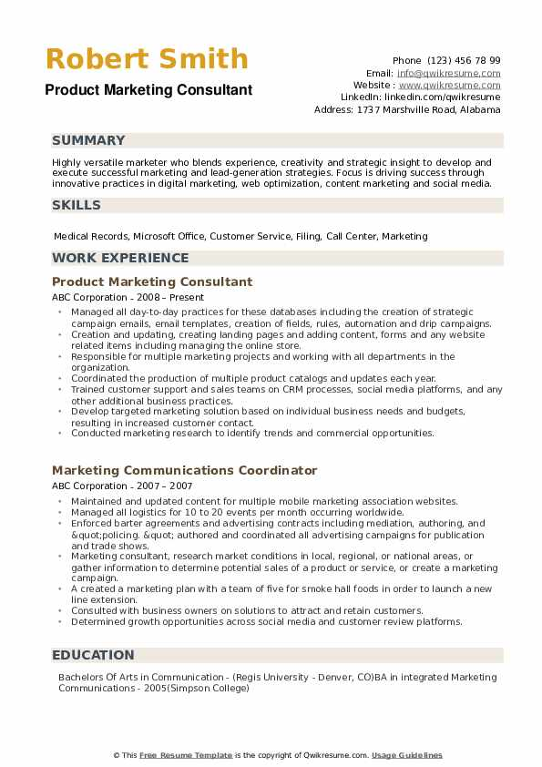 Marketing Consultant Resume example