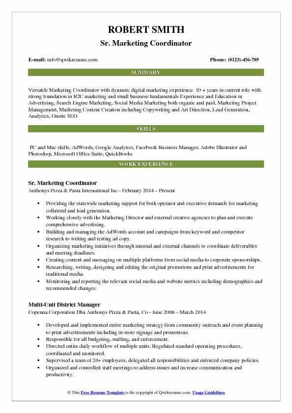 Sr. Marketing Coordinator Resume Model