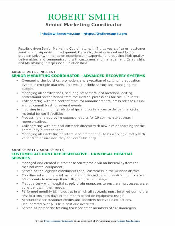 Senior Marketing Coordinator Resume Example