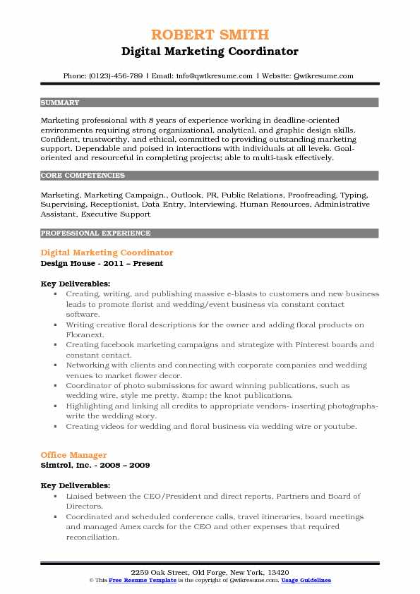 Digital Marketing Coordinator Resume Model
