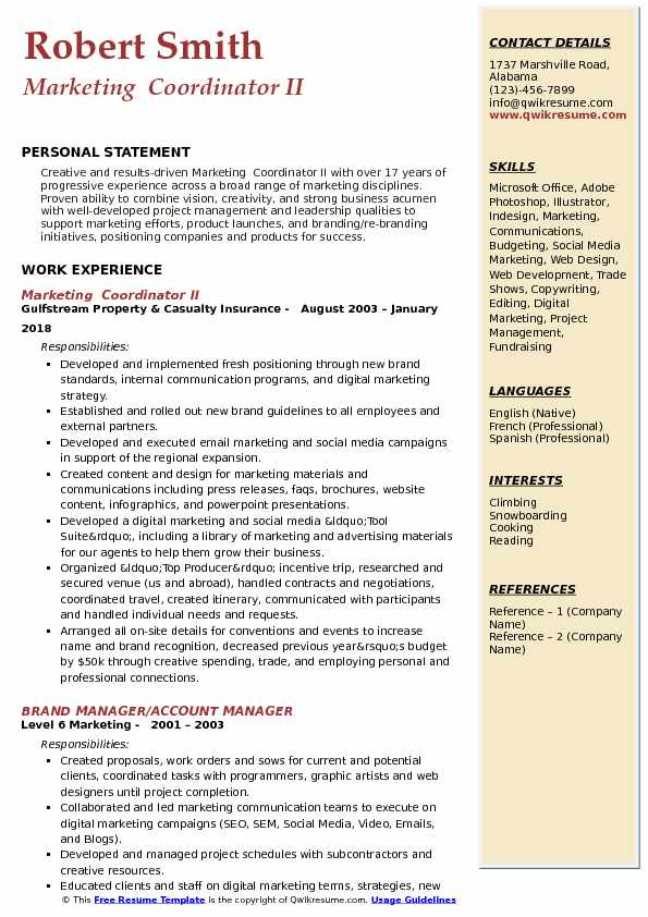 Marketing  Coordinator II Resume Model