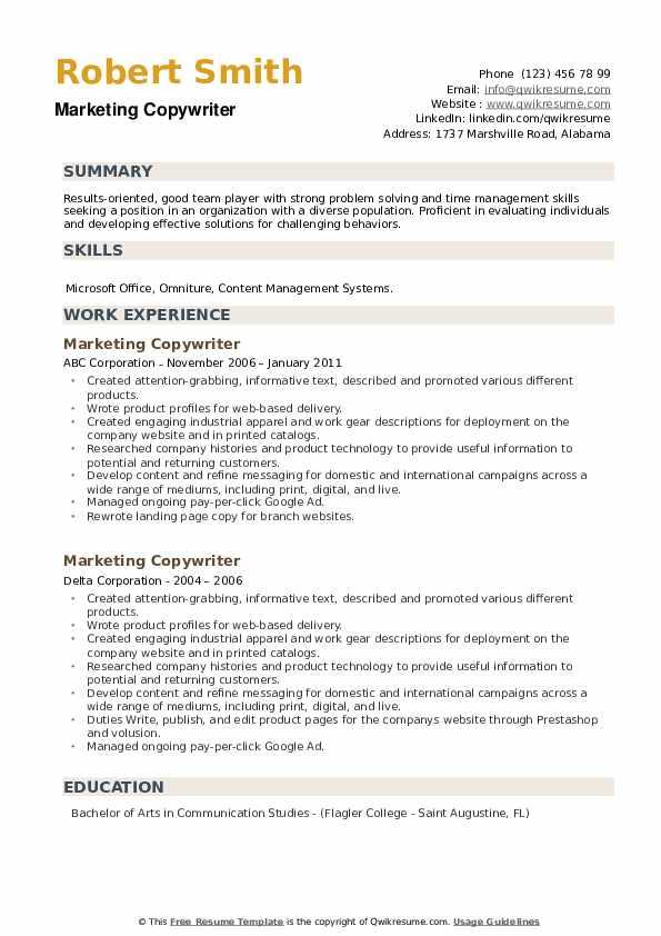 Marketing Copywriter Resume example