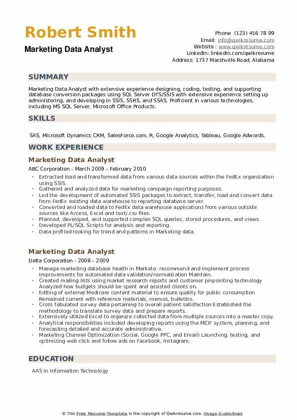 Marketing Data Analyst Resume example