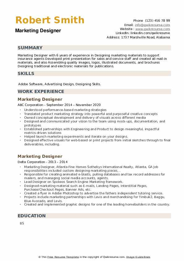 Marketing Designer Resume example