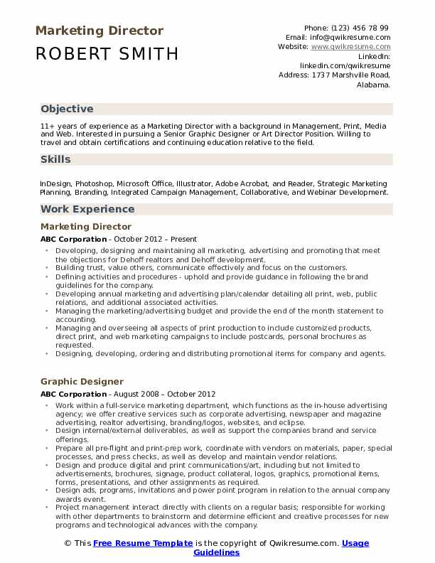Marketing Director  Resume Format