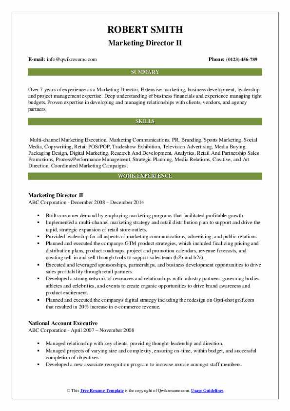 Marketing Director II Resume Template