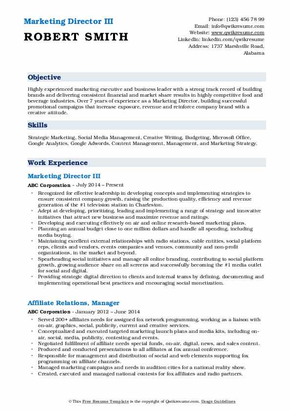 Marketing Director III Resume Template