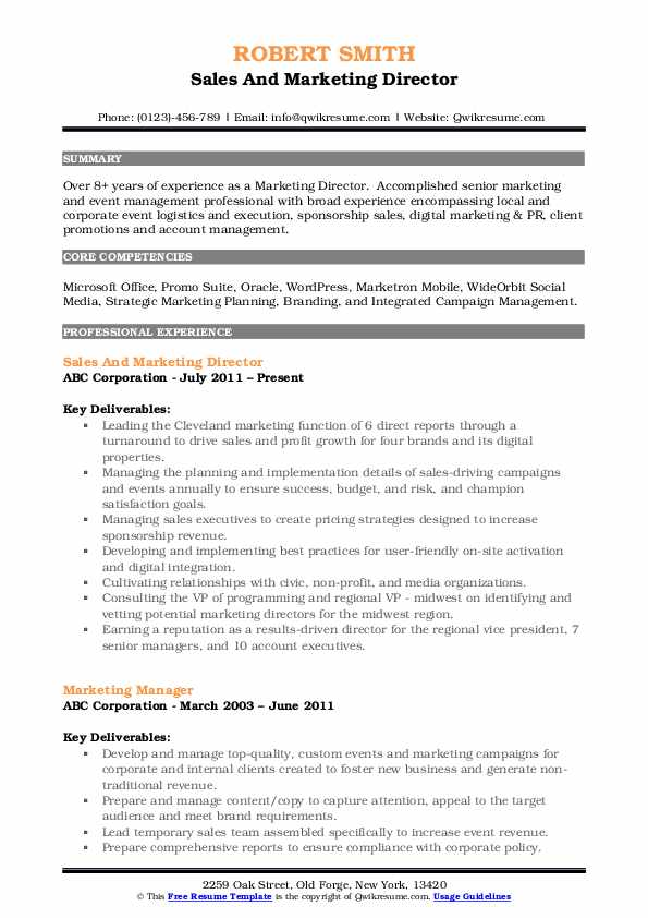 Sales And Marketing Director Resume Template
