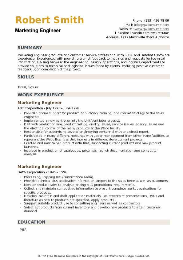 Marketing Engineer Resume example