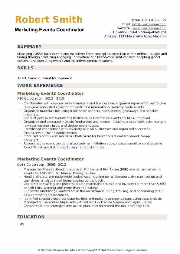 Marketing Events Coordinator Resume example