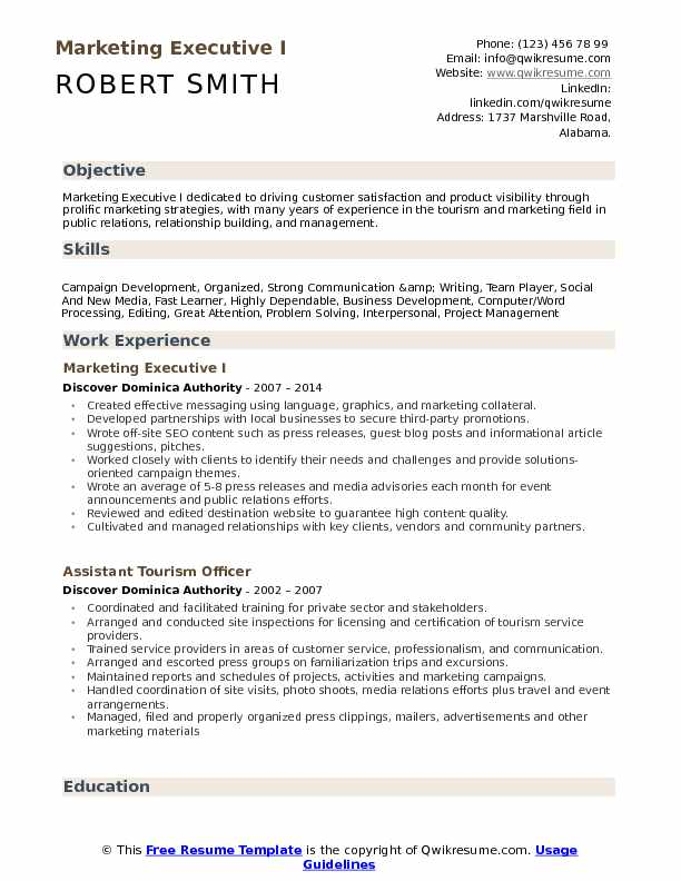 Marketing Executive I Resume Example
