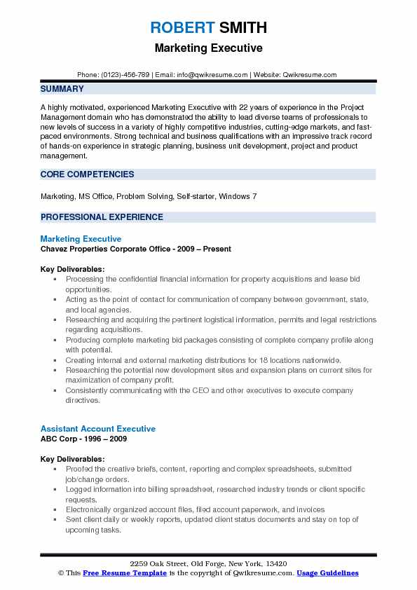 Marketing Executive Resume Format