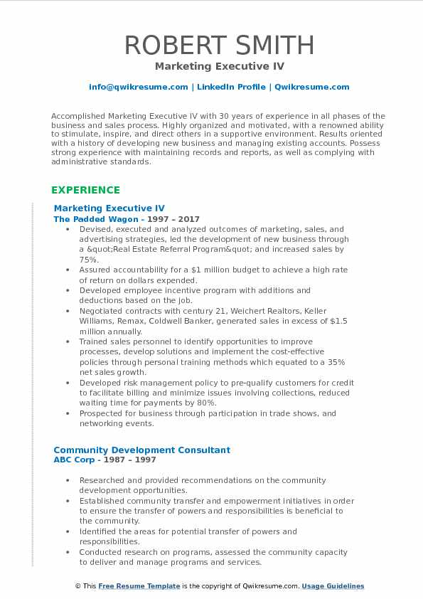 Marketing Executive IV Resume Example