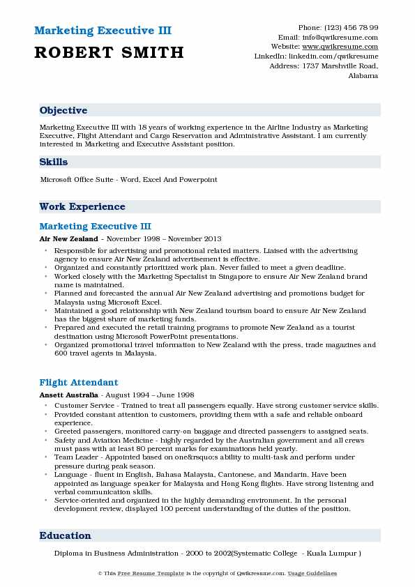 Marketing Executive III Resume Sample