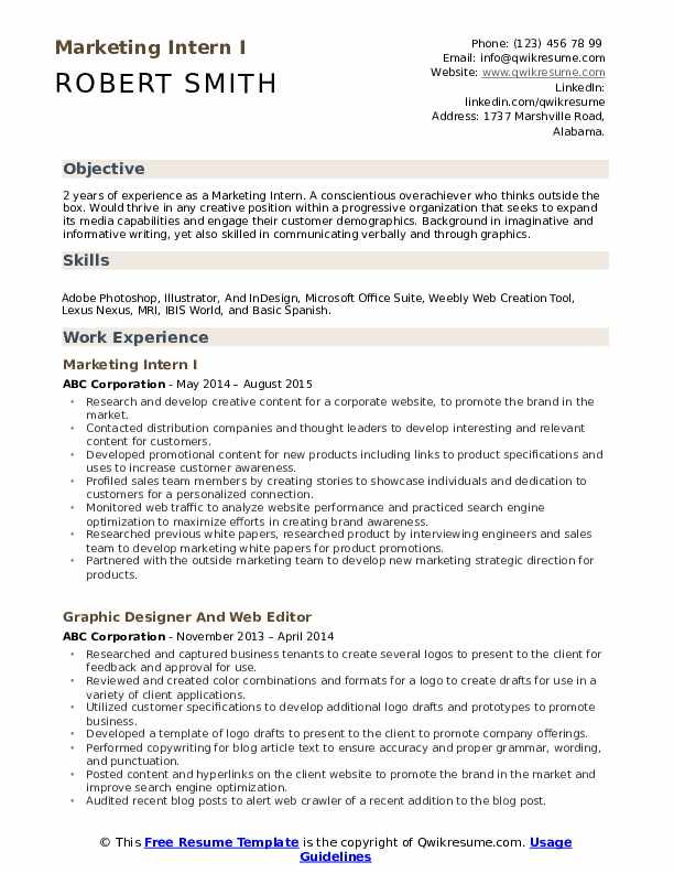 Marketing Intern I Resume Example