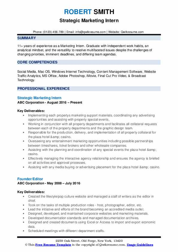 Strategic Marketing Intern Resume Sample