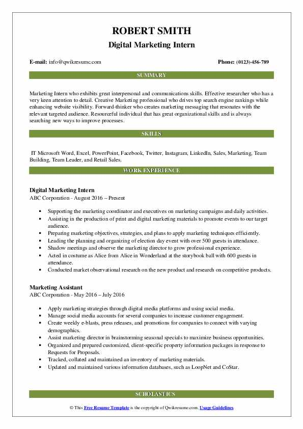 Digital Marketing Intern Resume Format
