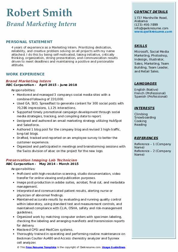 Brand Marketing Intern Resume Format