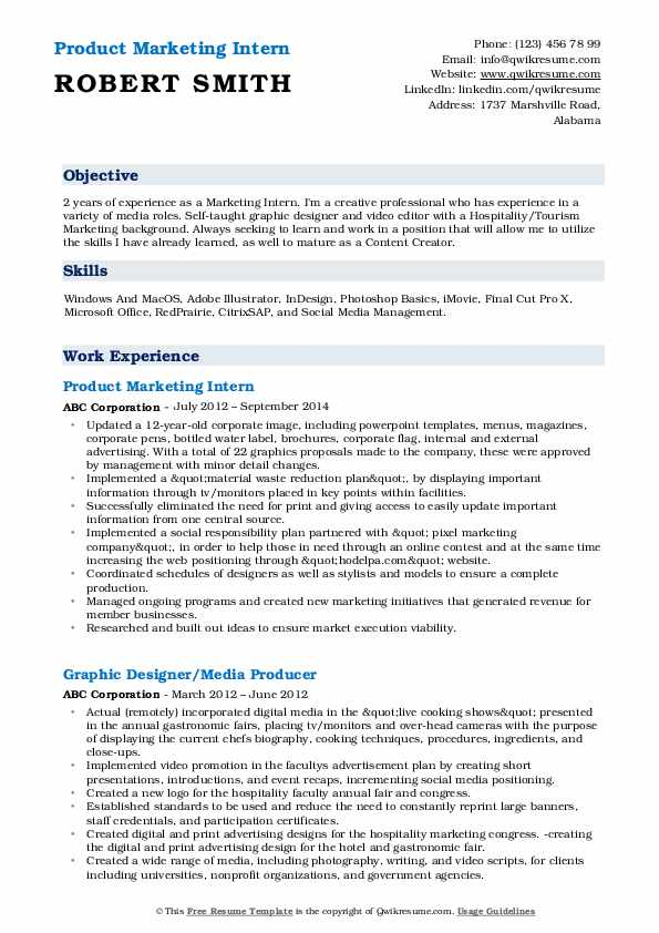 Product Marketing Intern Resume Format