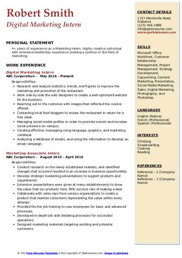 Digital Marketing Intern Resume Example