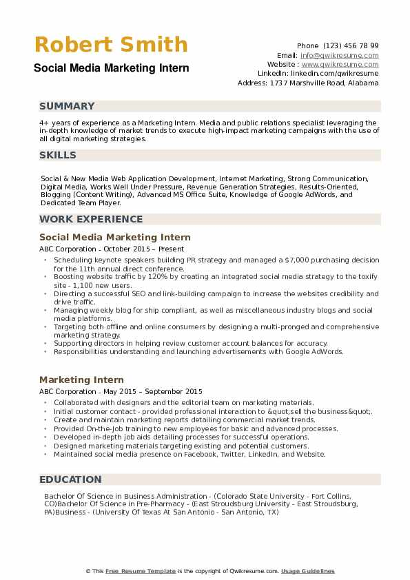 Marketing Intern Resume Samples Qwikresume