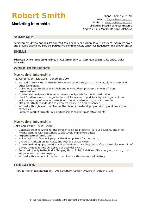 Marketing Internship Resume example