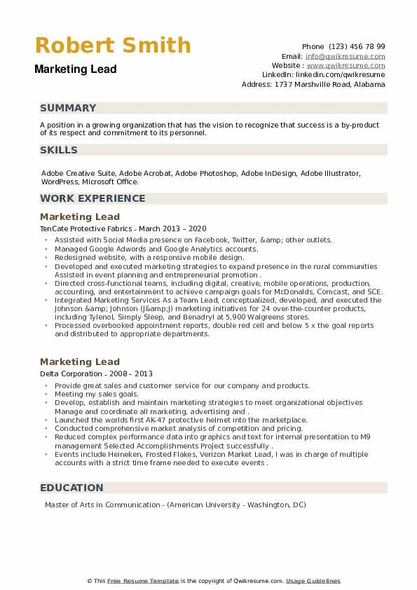 Marketing Lead Resume example