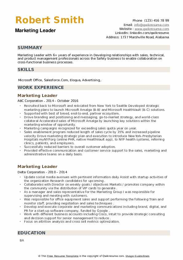 Marketing Leader Resume example