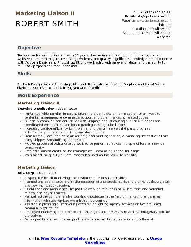 Marketing Liaison Resume Samples Qwikresume
