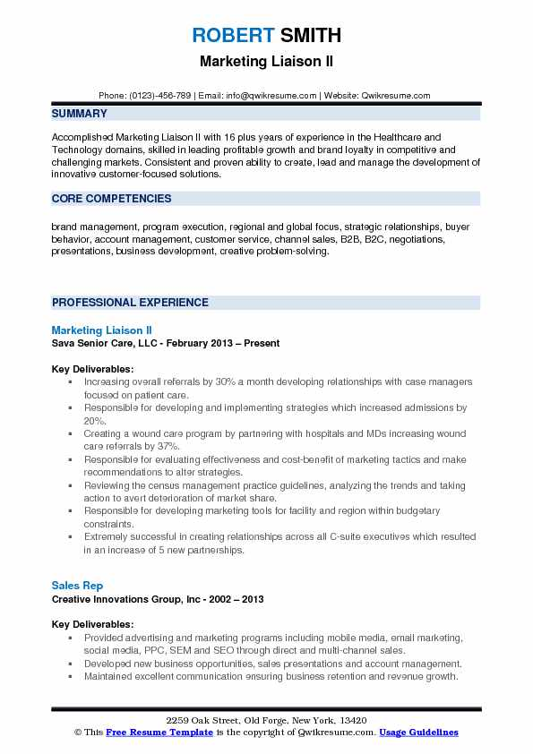Marketing Liaison II Resume Format