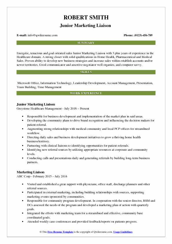 Junior Marketing Liaison  Resume Sample