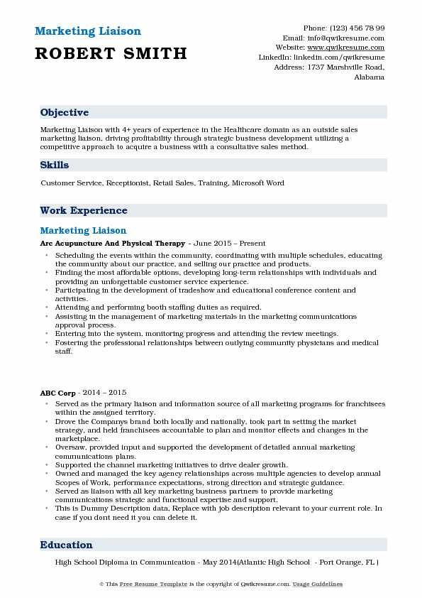 Marketing Liaison Resume Model