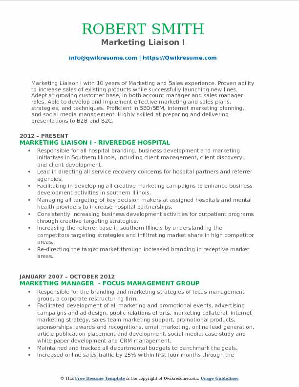 Marketing Liaison I Resume Template