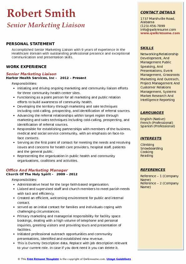 Senior Marketing Liaison Resume Template