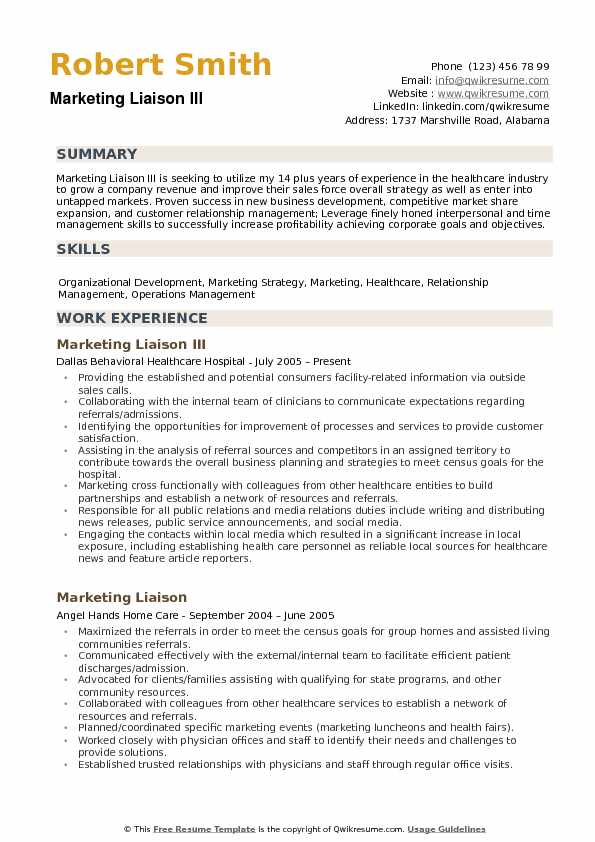 Marketing Liaison Resume example
