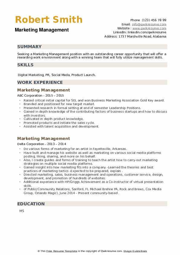 Marketing Management Resume example
