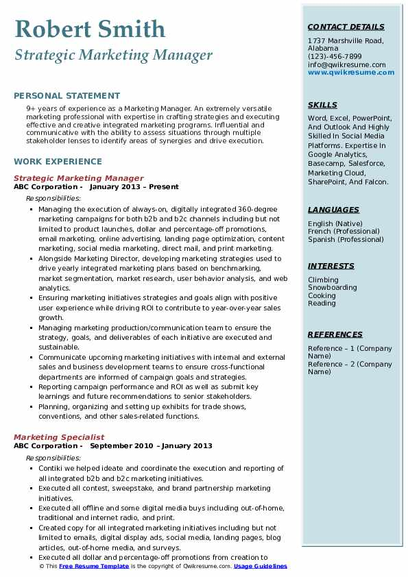 Marketing Manager Resume Samples Qwikresume