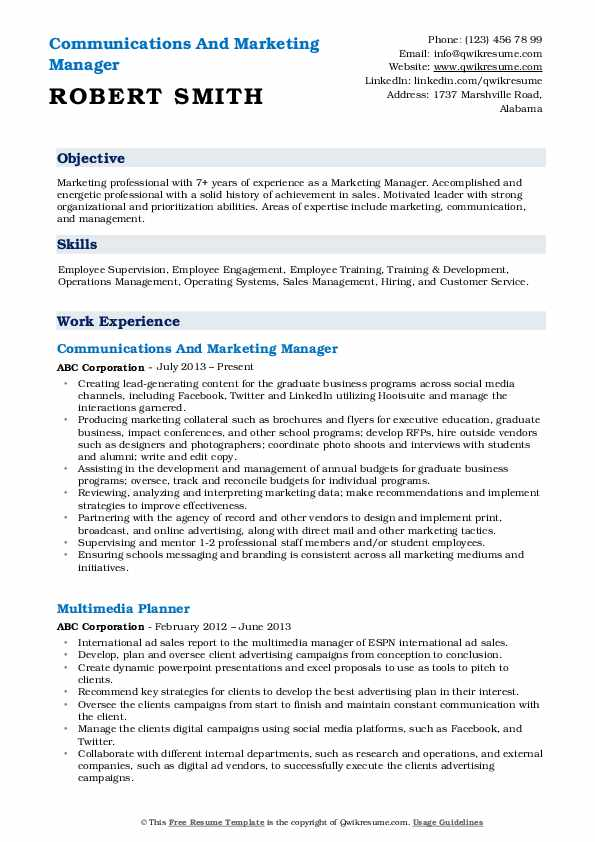 Communications And Marketing Manager Resume Template