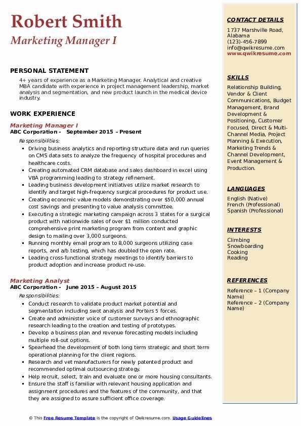 Marketing Manager I Resume Format