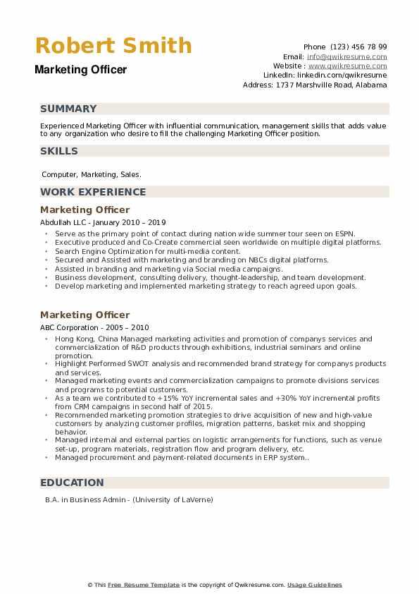 Marketing Officer Resume example