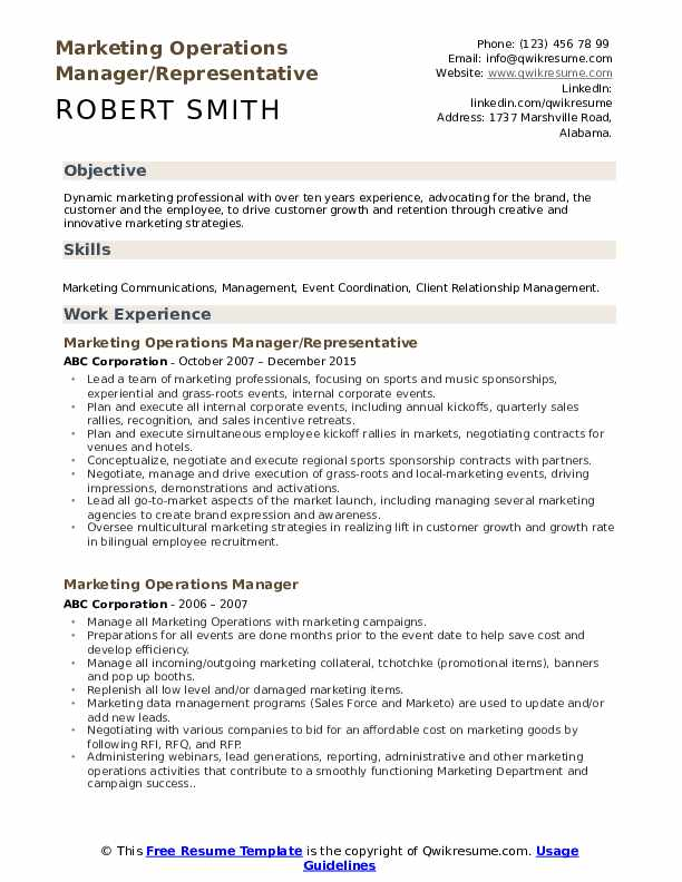 Marketing Operations Manager/Representative Resume Sample
