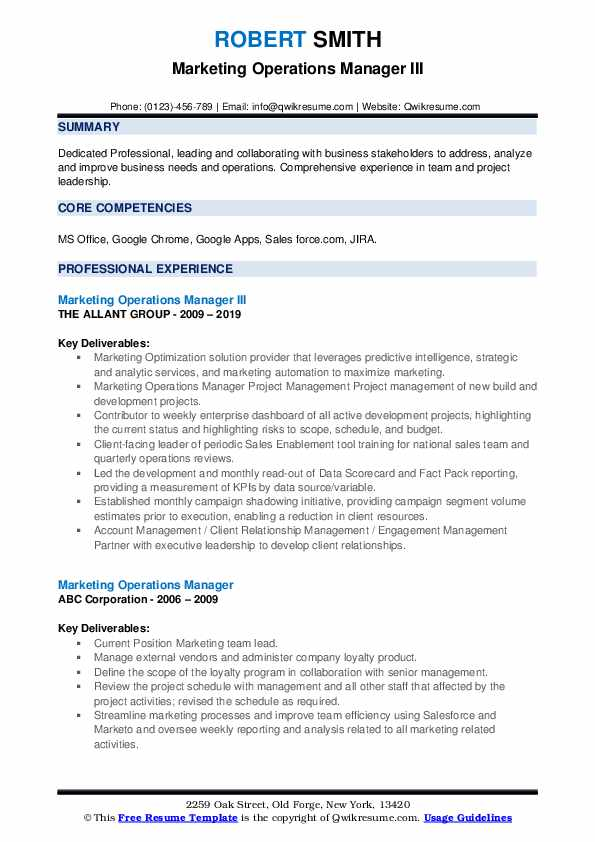 Marketing Operations Manager III Resume Example