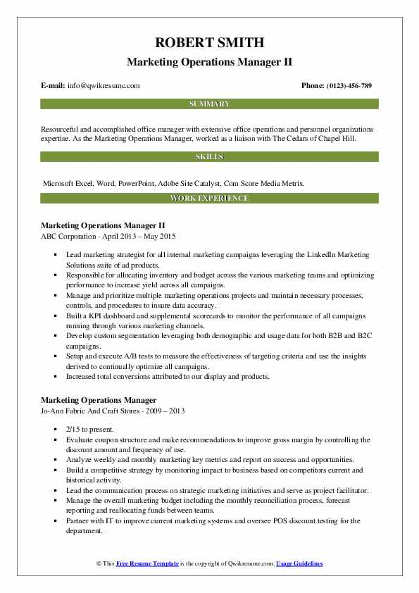 Marketing Operations Manager II Resume Format